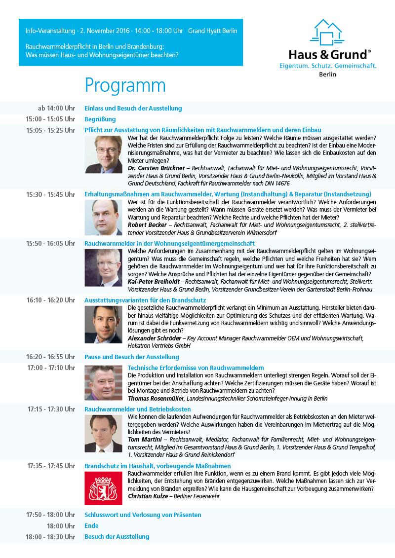 Haus & Grund Berlin Tagungsprogramm