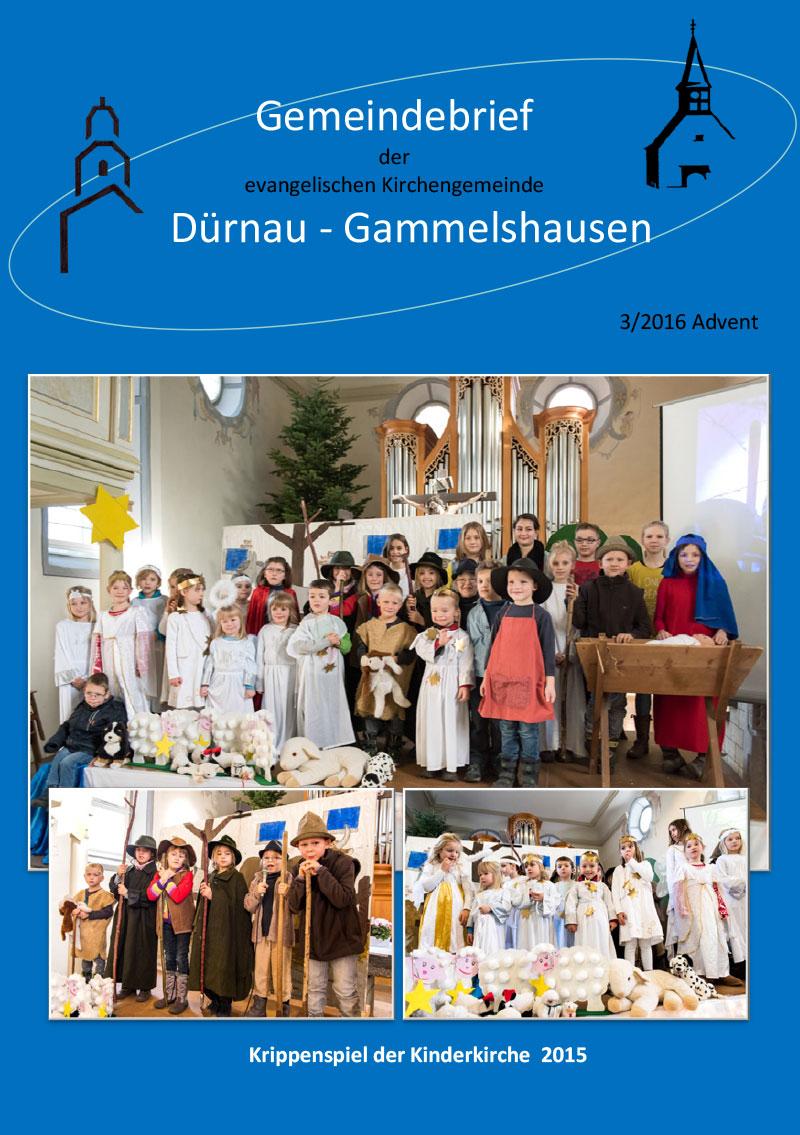 Kirchengemeinde Dürnau-Gammelshausen Gemeindebrief 2016-3