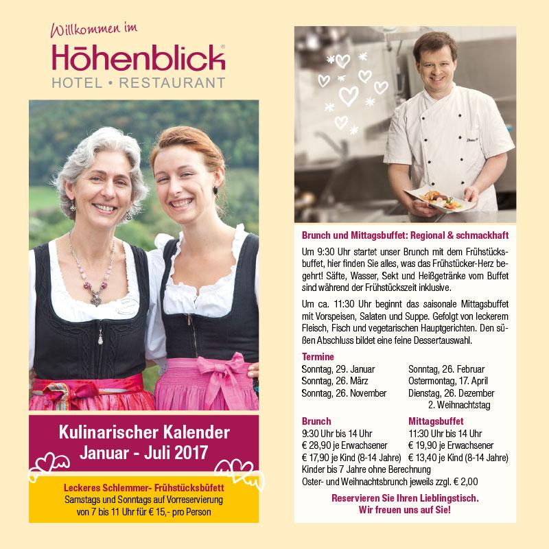 Hotel Höhenblick Kulinarischer Kalender 2017
