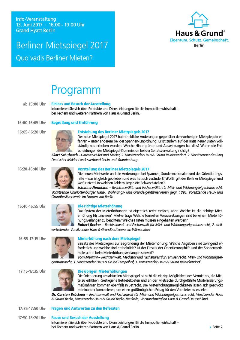 Programm Info-Veranstaltung Mietspiegel Haus & Grund Berlin