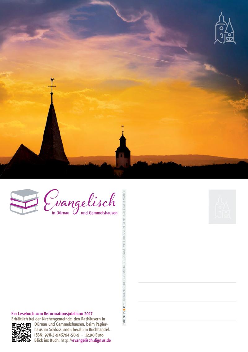 Postkarte Evangelisch in Dürnau und Gammelshausen